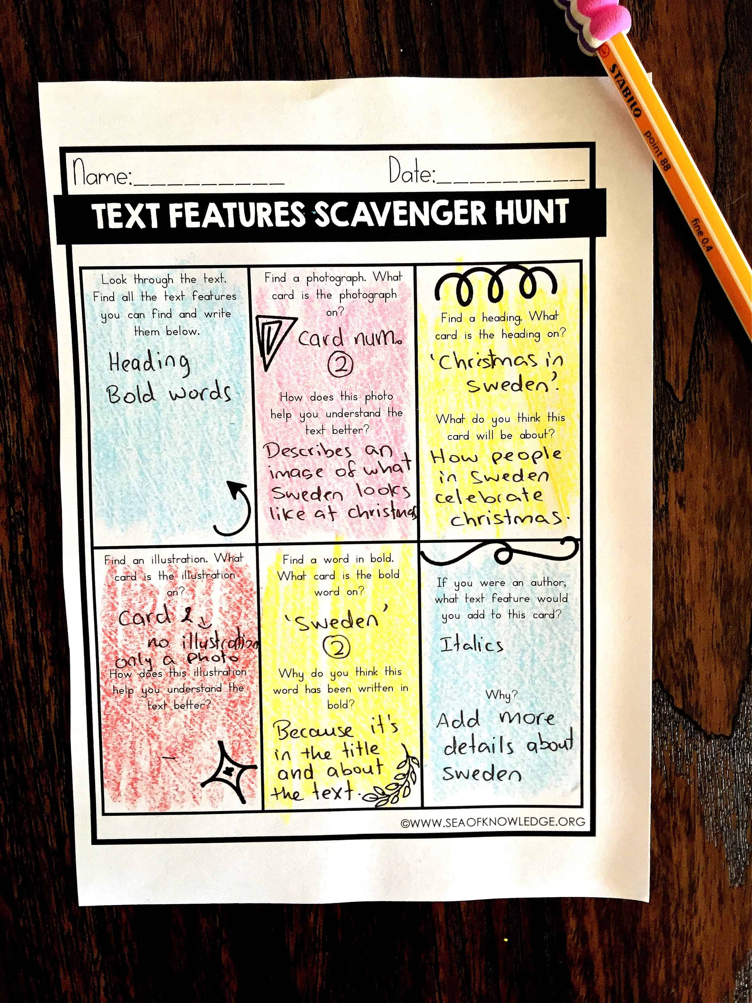 Nonfiction Text Features Worksheets Free