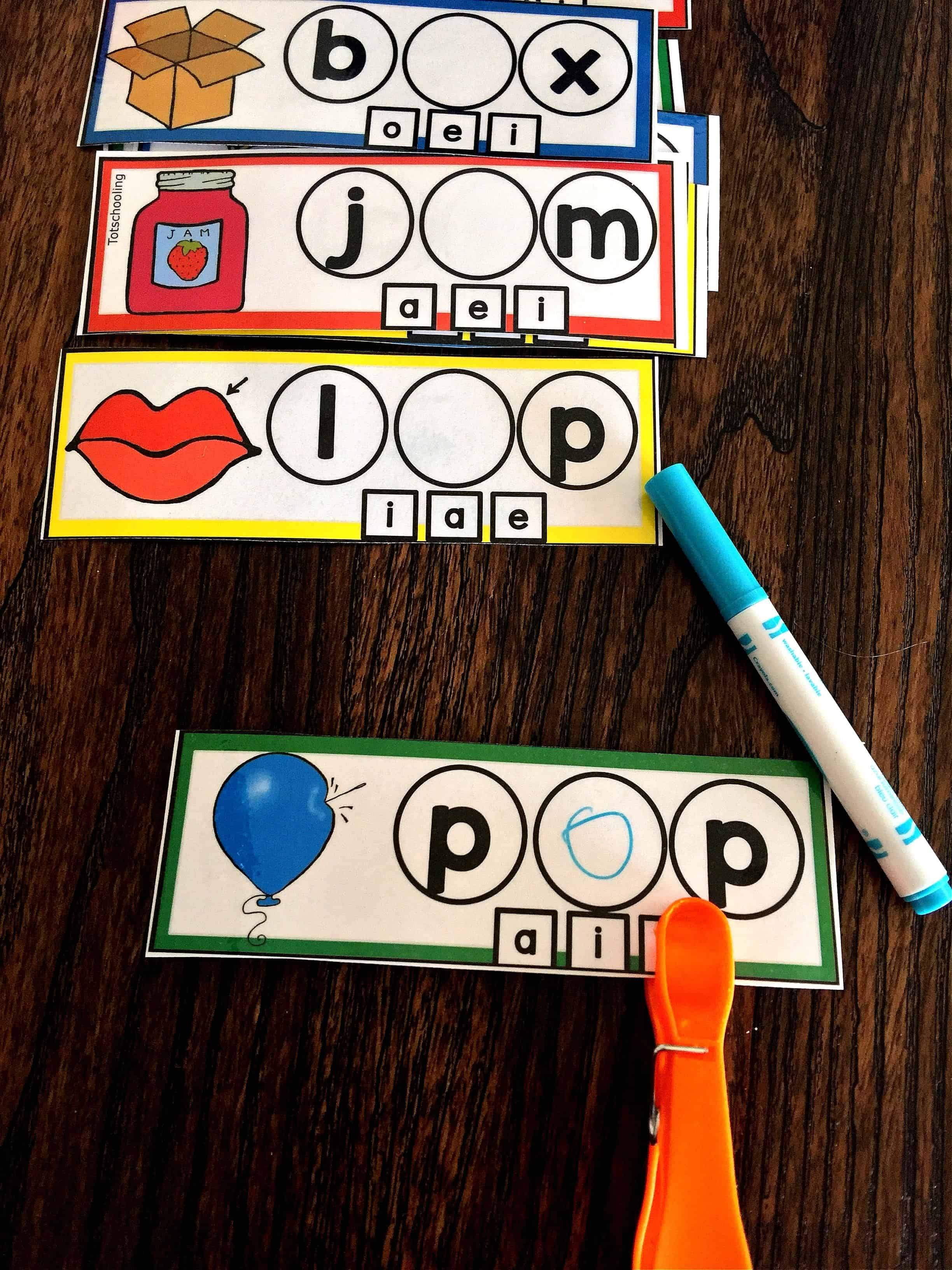 Cvc Words Vowel Sounds Activity Strips