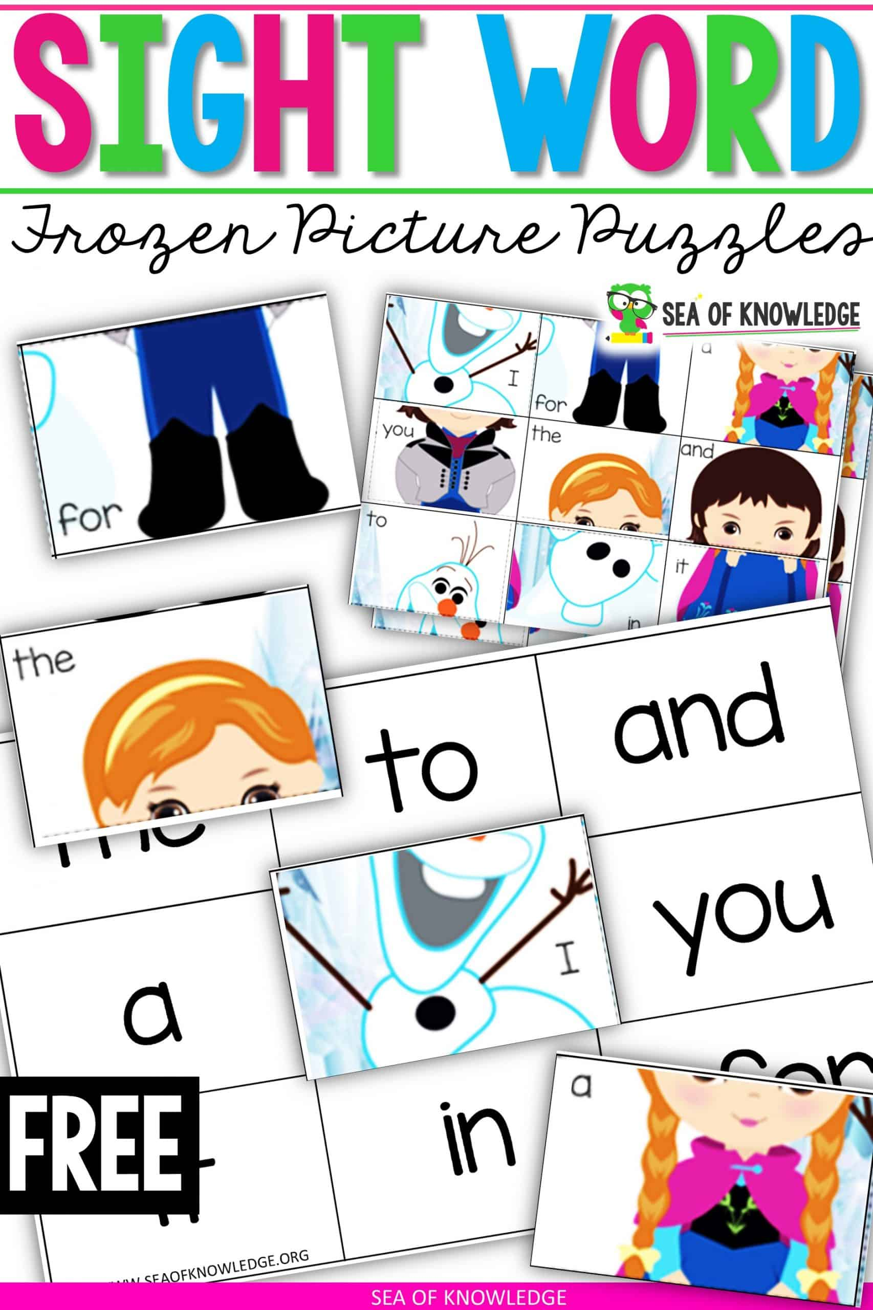 Ice Princess Frozen Sight Word Worksheet Puzzles