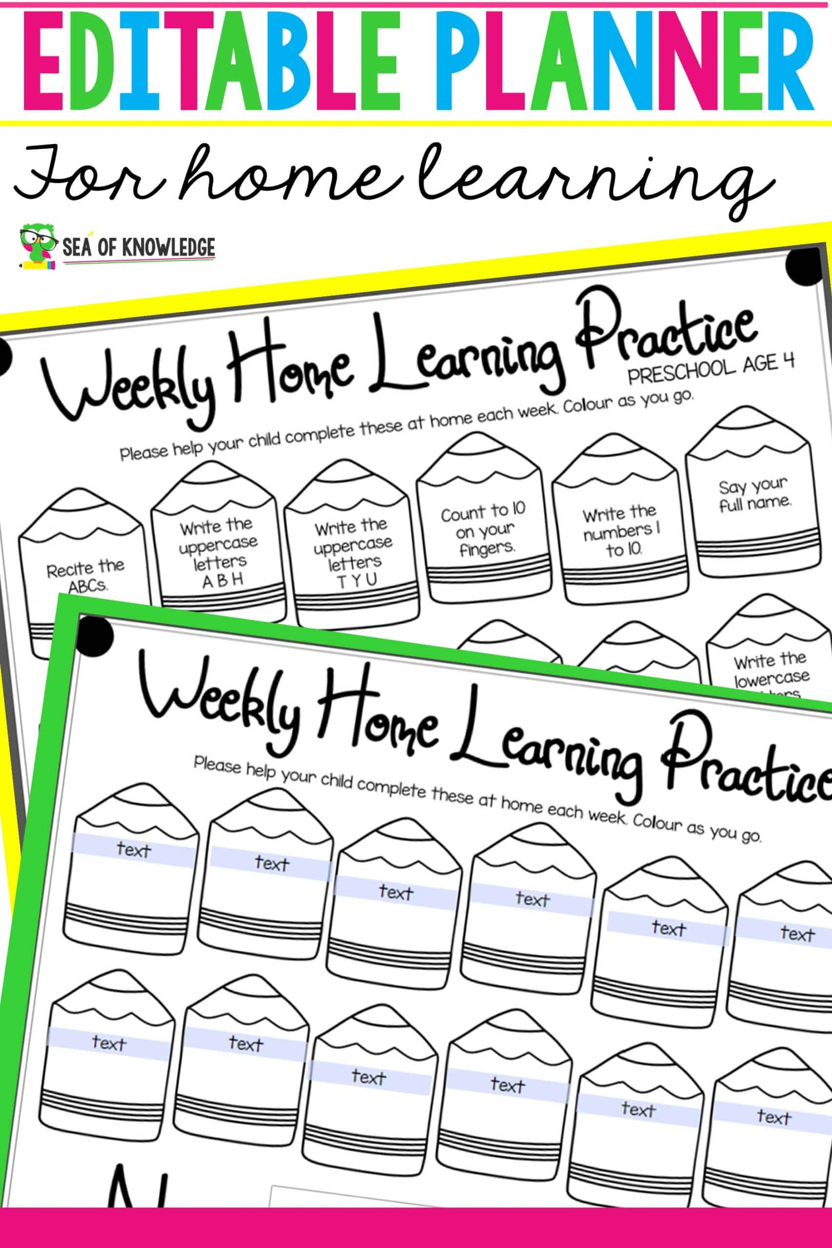 Editable Weekly Planner for Home Learning