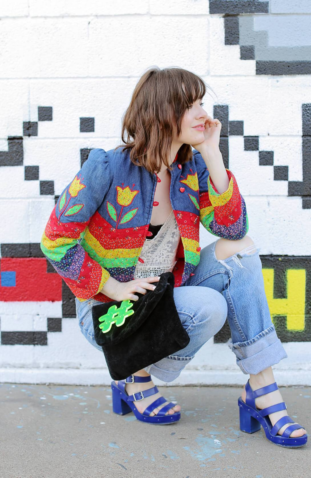 vintage quilted jacket at sea of shoes