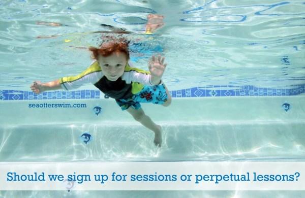 session swim lessons or perpetual swim lessons