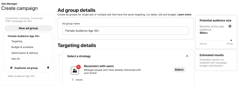 Create ad group details.