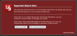 Reported Attack Site message