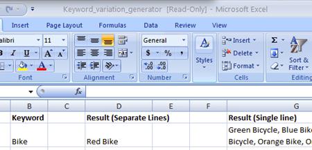 Keywork Variation Generator in Excel