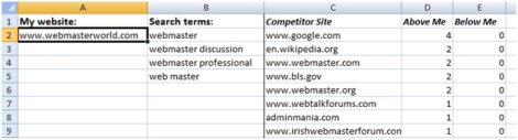 Competitor Research Tool Spreadsheet