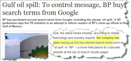 Gulf oil spill news about BP SEO & PPC
