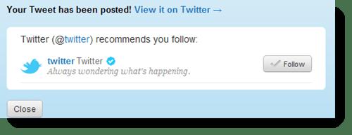 Tweet button follow recommendations