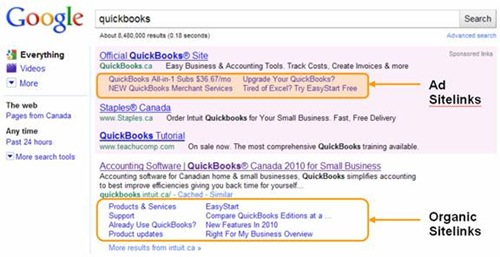 example of PPC ad sitelinks