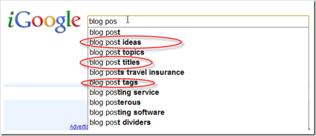 Google Instant Search for Blog Post Ideas