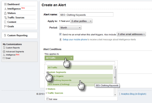 Screengrab: apply a custom alert to a custom segment in GA