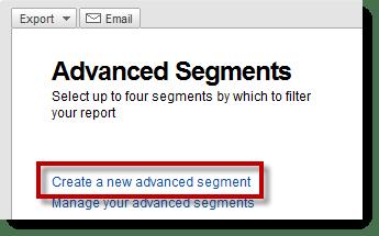 Advanced Segments - Create New