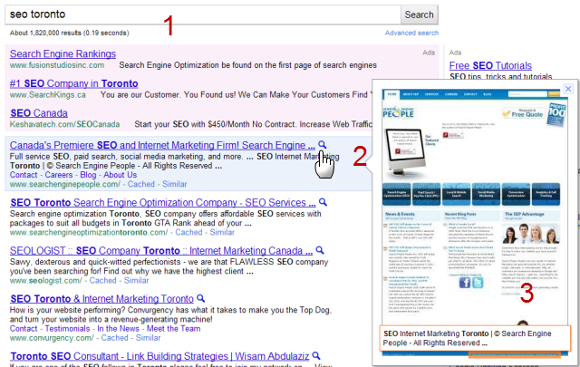 Google Instant Preview SEO Toronto example