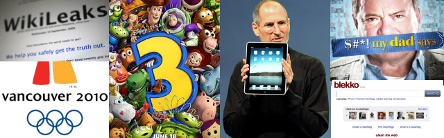 2010: WikiLeaks, Olympic Games Canada, Toy Story 3, iPad, Shit my dad says, blekko
