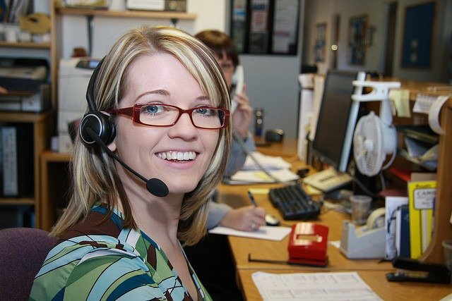 woman customer service smiling