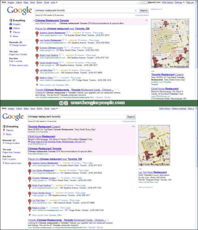 Google margin SERP test before & after