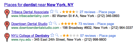 Online Reviews in Google
