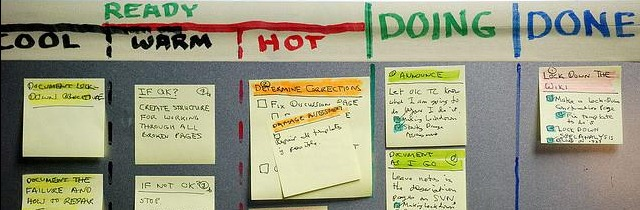 A personal kanban made with Post It's