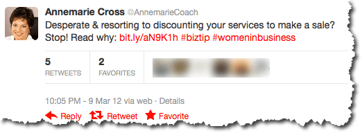 Search Engine People refers to @AnnemarieCoach as a great example of using hashtags and key words in tweets