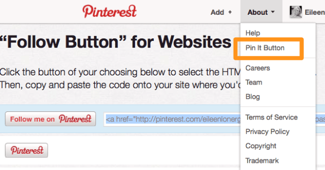 How to Embed Pintrest Follow Button on Your Website | Eileen Lonergan