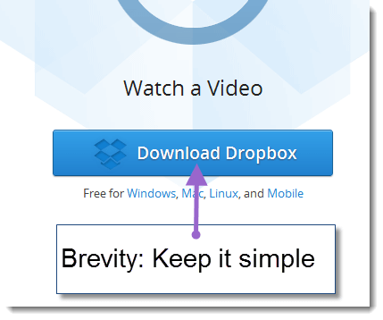 Few words - great call to action from dropbox