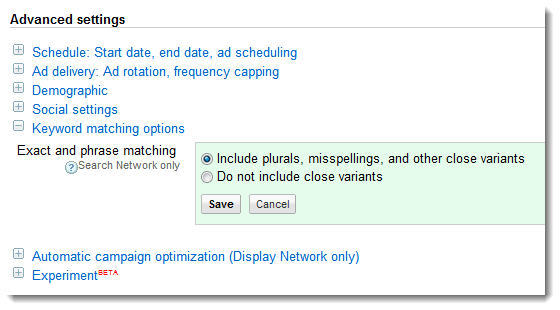 New Keyword Matching Options