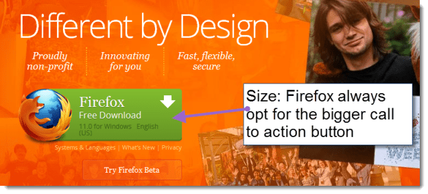 Firefox have always used oversized CTAs