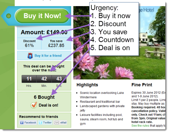Groupon use a lot of urgency in their calls to action