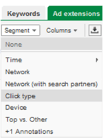 how view adwords sitelinks performance stats