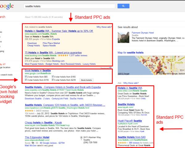 Seattle Hotels Google SERP