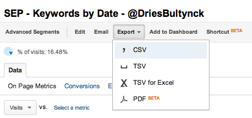 Export GA data