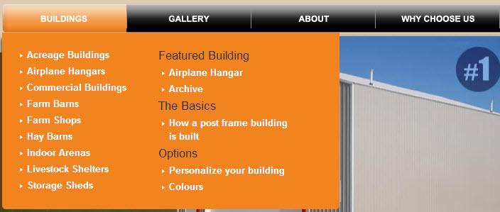 Internal links, main menu example