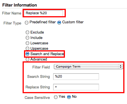 filter white spaces google analytics
