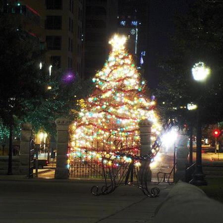 Lit, decorated Christmas tree