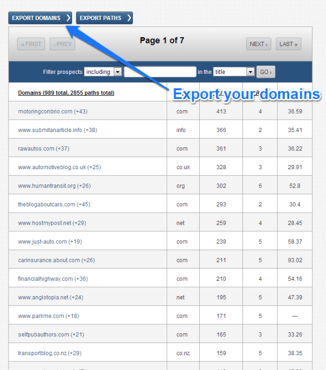 export your domains