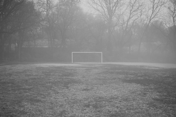 Looking across the park earlier in the week at the lone soccer goal.