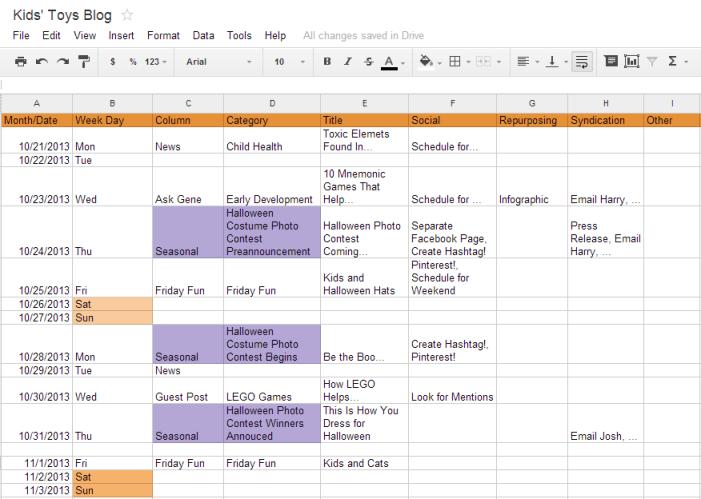 content marketing calendar 9