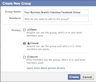 Facebook Groups Settings Panel