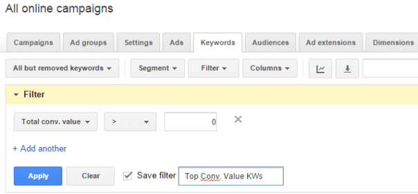 Saved-AdWords-Filter