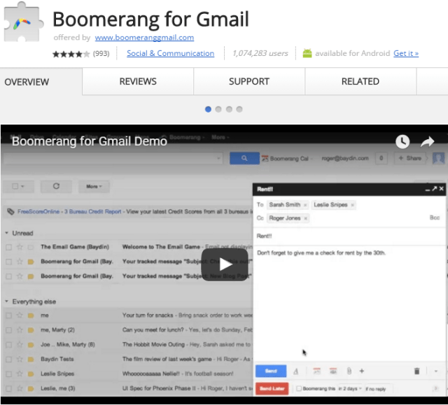 Boomerang Chrome Extension