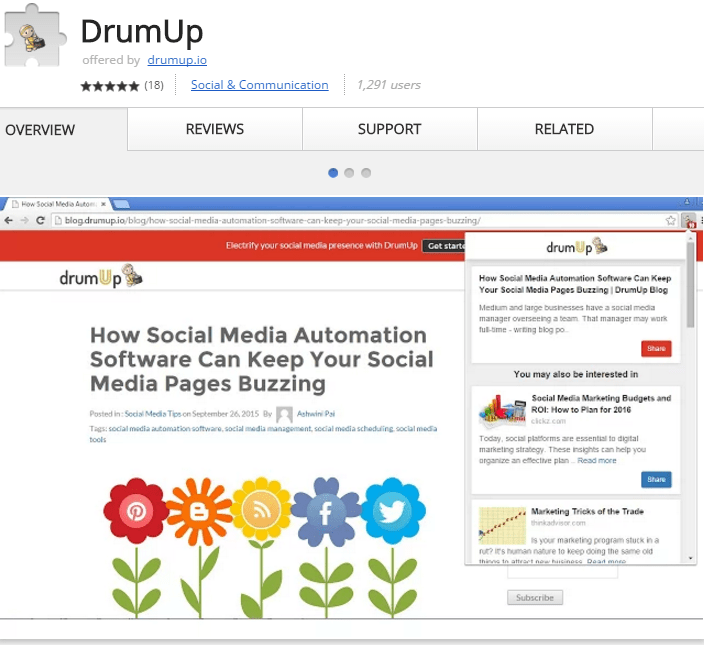 DrumUp Chrome Extension