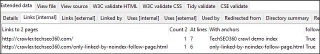 noindex and follow URL details