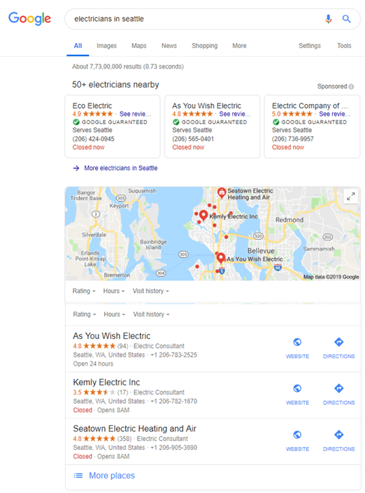 Example of using customer reviews to rank in local SEO