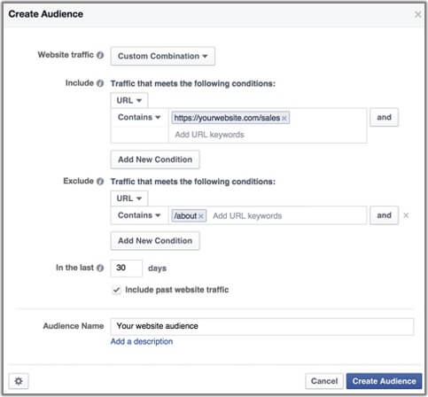 Using Facebook custom audience option to build engagement based conversion