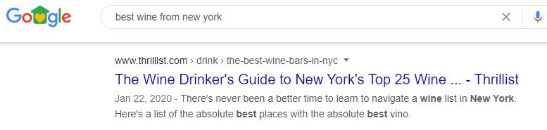 Local SEO example New York wine