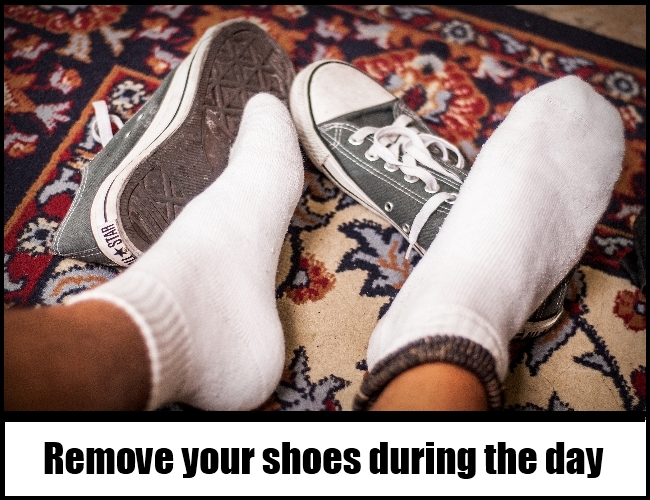 remove your shoes during the day