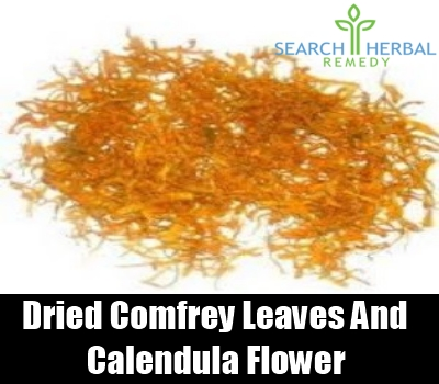 dried comfrey leaves and calendula flower