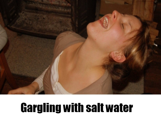 gargling with salt water
