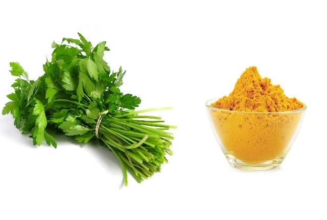 Use Turmeric With Coriander Leaves Juice