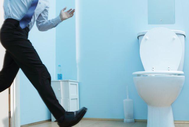 running to the washroom